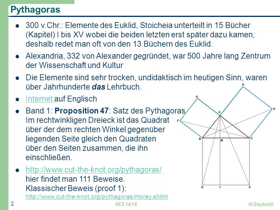 Pythagoras 300 v.Chr.: Elemente des Euklid, Stoicheia unterteilt in 15 Bücher (Kapitel) I bis XV wobei die beiden letzten erst später dazu kamen, desh