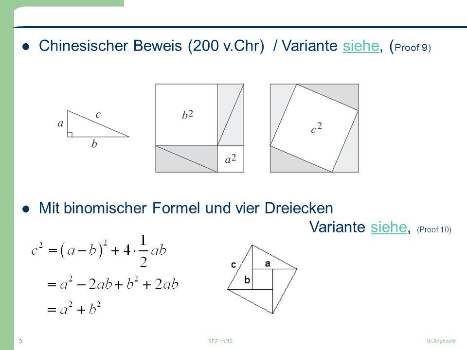 Chinesischer Beweis (200 v.Chr) / Variante siehe, ( Proof 9)siehe Mit binomischer Formel und vier Dreiecken Variante siehe, (Proof 10)siehe SFZ 14/15W