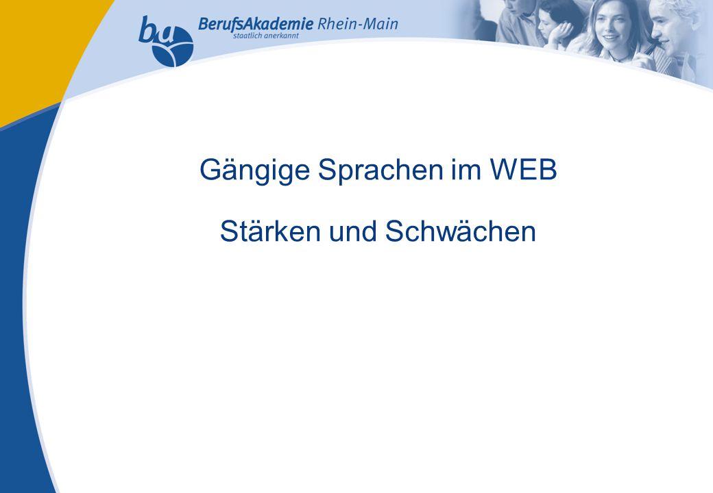 Externes Rechnungswesen Seite 1 Michael Schmitt, CFA Gängige Sprachen im WEB Stärken und Schwächen