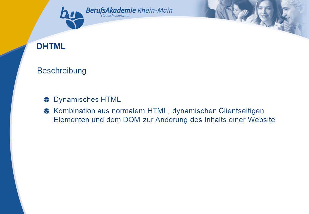 Externes Rechnungswesen Seite 11 Michael Schmitt, CFA Beschreibung Dynamisches HTML Kombination aus normalem HTML, dynamischen Clientseitigen Elementen und dem DOM zur Änderung des Inhalts einer Website DHTML
