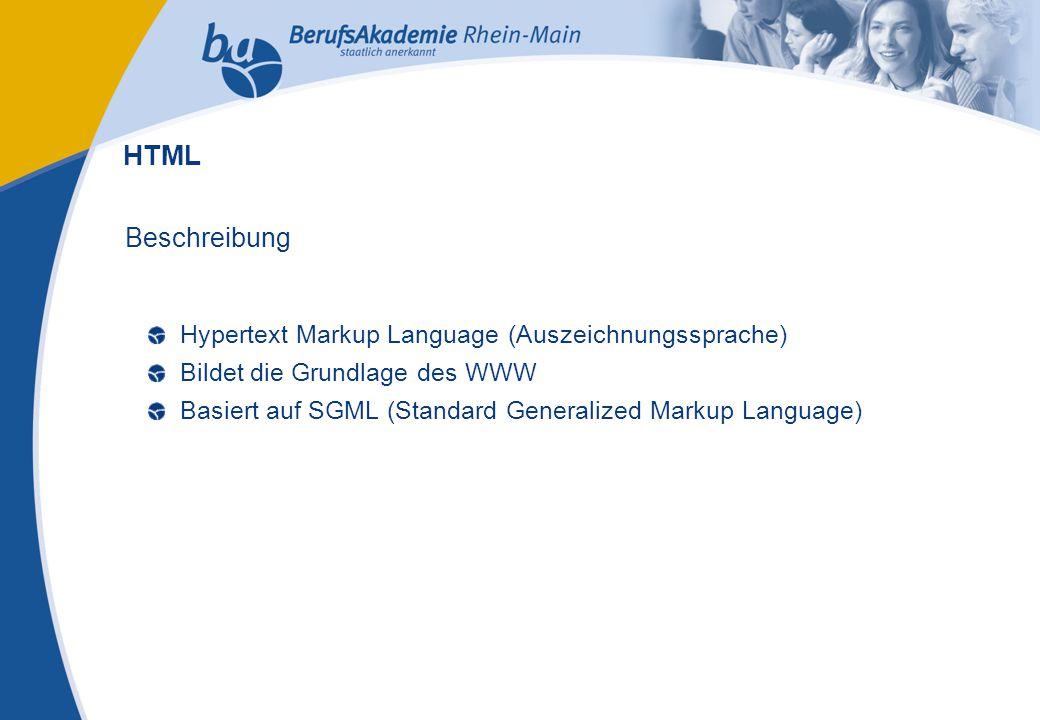 Externes Rechnungswesen Seite 2 Michael Schmitt, CFA Beschreibung Hypertext Markup Language (Auszeichnungssprache) Bildet die Grundlage des WWW Basier