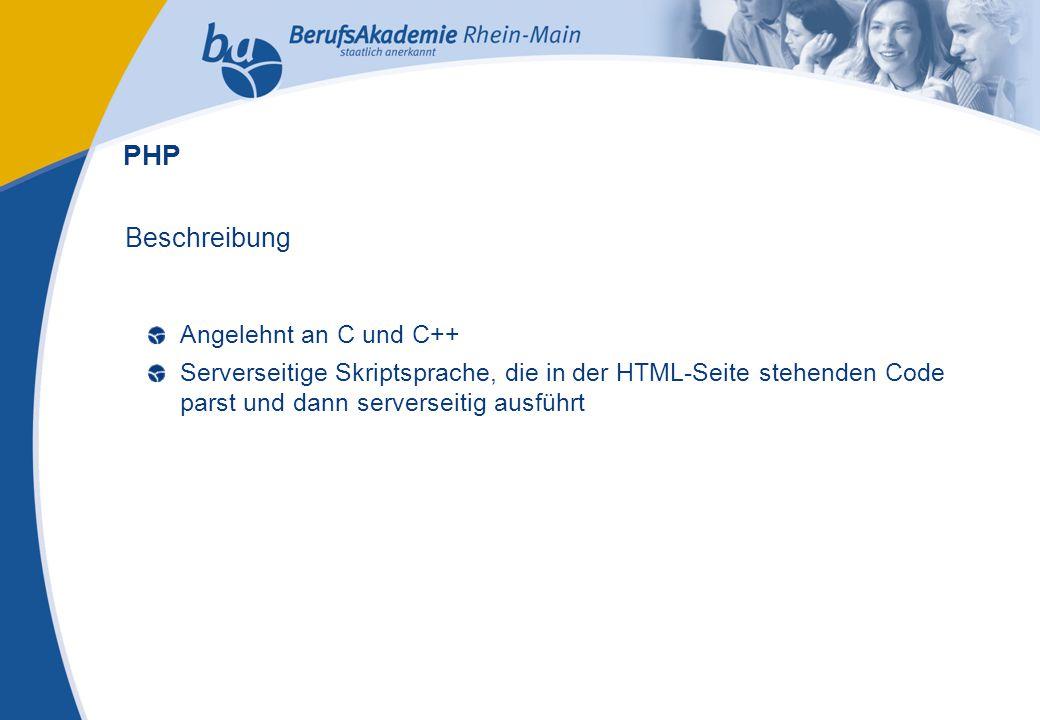 Externes Rechnungswesen Seite 20 Michael Schmitt, CFA Beschreibung Angelehnt an C und C++ Serverseitige Skriptsprache, die in der HTML-Seite stehenden Code parst und dann serverseitig ausführt PHP