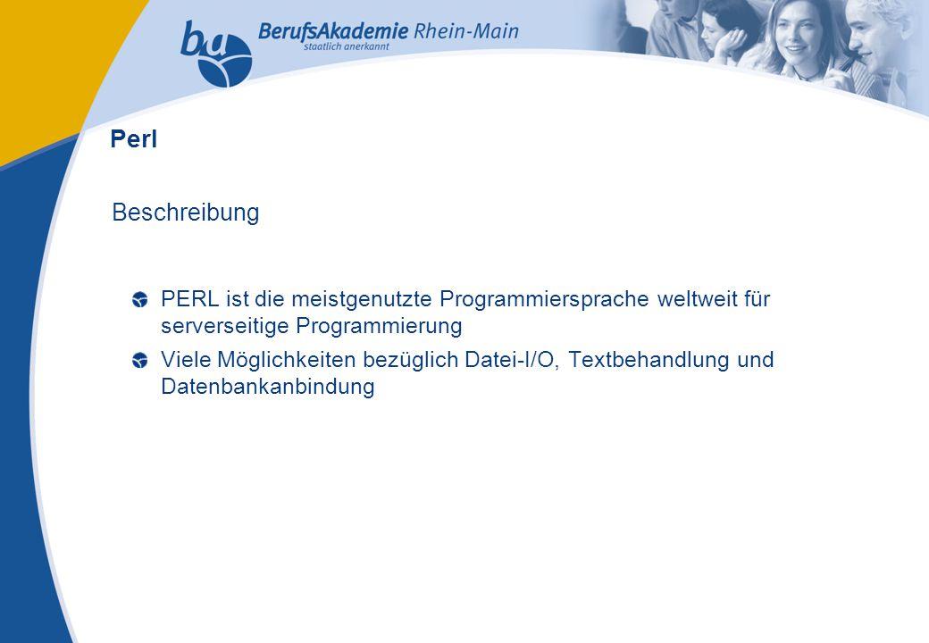 Externes Rechnungswesen Seite 23 Michael Schmitt, CFA Beschreibung PERL ist die meistgenutzte Programmiersprache weltweit für serverseitige Programmierung Viele Möglichkeiten bezüglich Datei-I/O, Textbehandlung und Datenbankanbindung Perl