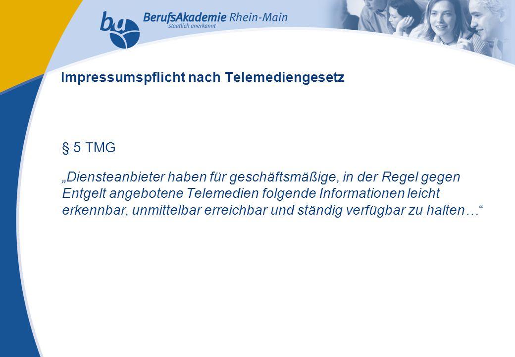 """Externes Rechnungswesen Seite 33 Michael Schmitt, CFA § 5 TMG """"Diensteanbieter haben für geschäftsmäßige, in der Regel gegen Entgelt angebotene Teleme"""