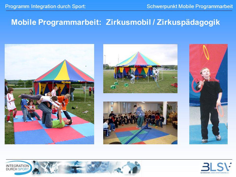 Programm Integration durch Sport: Schwerpunkt Mobile Programmarbeit Mobile Programmarbeit: Zirkusmobil / Zirkuspädagogik