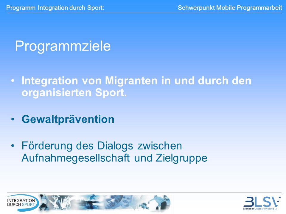 Programm Integration durch Sport: Schwerpunkt Mobile Programmarbeit Programmziele Integration von Migranten in und durch den organisierten Sport.