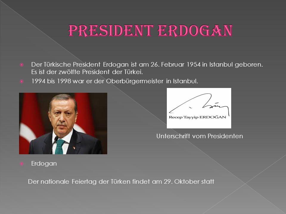  Der Türkische President Erdogan ist am 26. Februar 1954 in Istanbul geboren. Es ist der zwölfte President der Türkei.  1994 bis 1998 war er der Obe