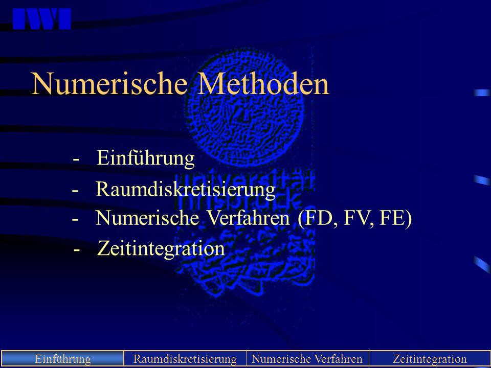 IWI EinführungRaumdiskretisierungNumerische VerfahrenZeitintegration Einführung Numerische Methoden - Einführung - Raumdiskretisierung - Numerische Ve
