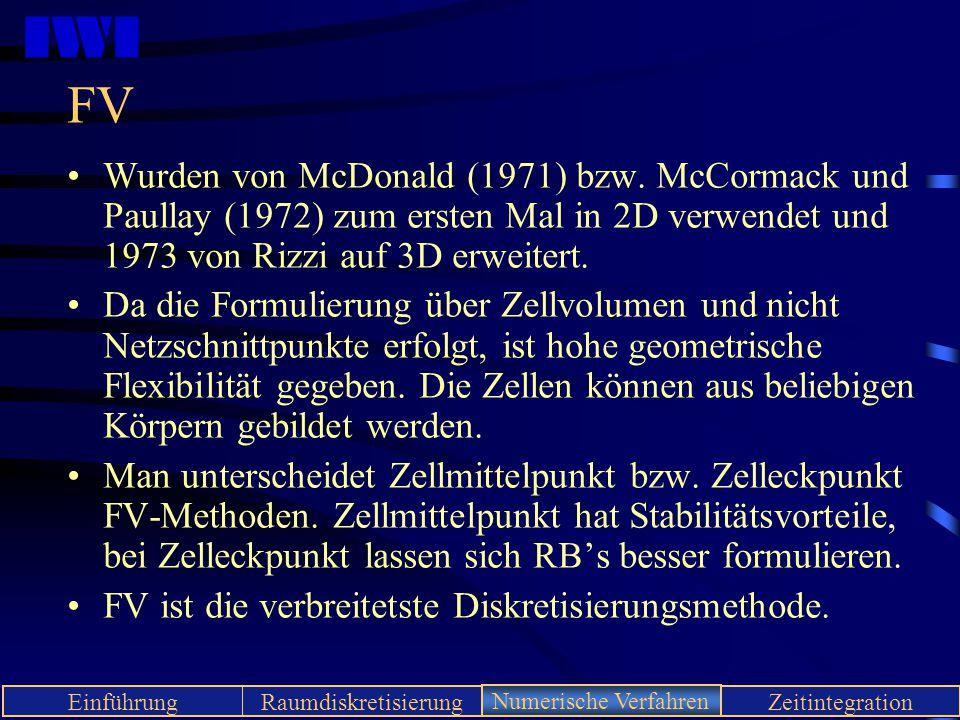 IWI EinführungRaumdiskretisierungNumerische VerfahrenZeitintegration FV Wurden von McDonald (1971) bzw. McCormack und Paullay (1972) zum ersten Mal in