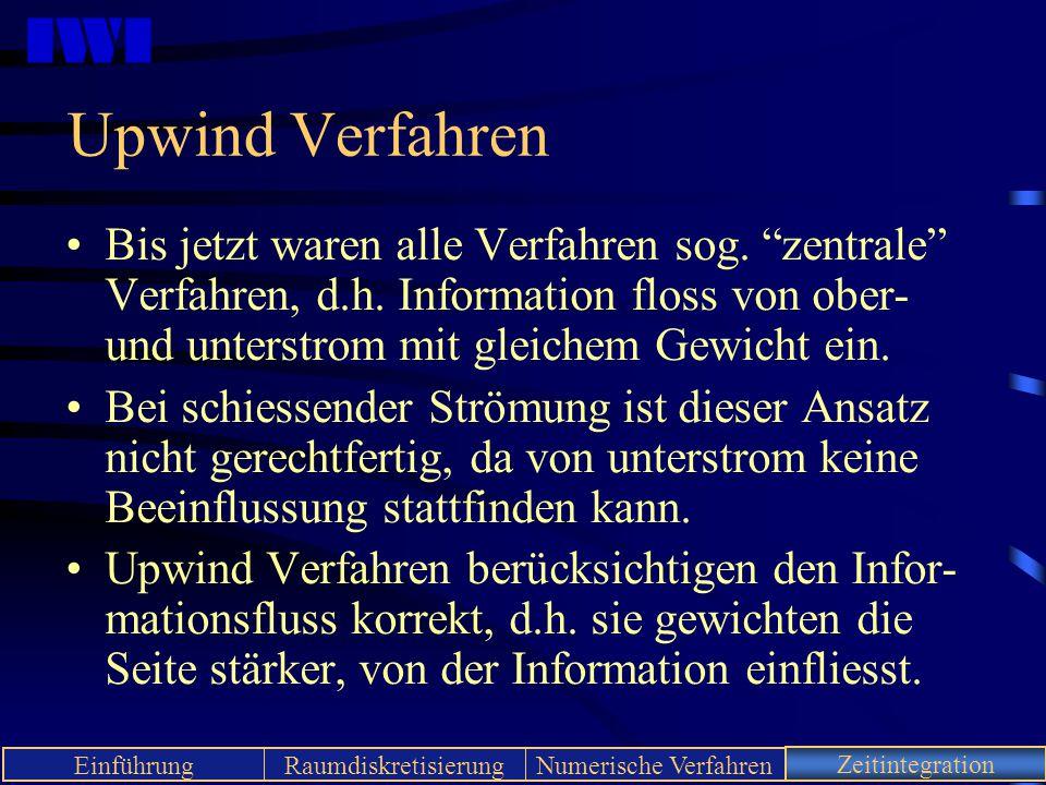 """IWI EinführungRaumdiskretisierungNumerische VerfahrenZeitintegration Upwind Verfahren Bis jetzt waren alle Verfahren sog. """"zentrale"""" Verfahren, d.h. I"""