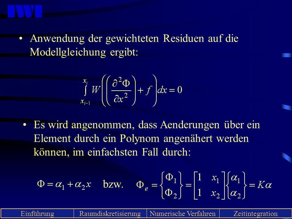 IWI EinführungRaumdiskretisierungNumerische VerfahrenZeitintegration Anwendung der gewichteten Residuen auf die Modellgleichung ergibt: Es wird angeno