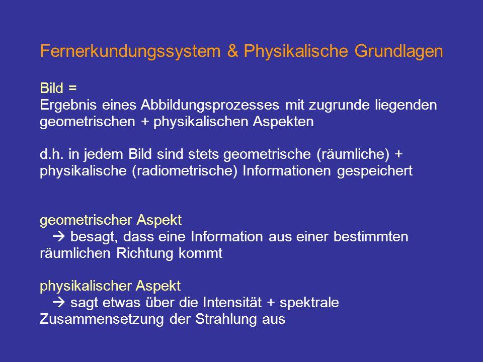 Fernerkundungssystem & Physikalische Grundlagen Bild = Ergebnis eines Abbildungsprozesses mit zugrunde liegenden geometrischen + physikalischen Aspekt