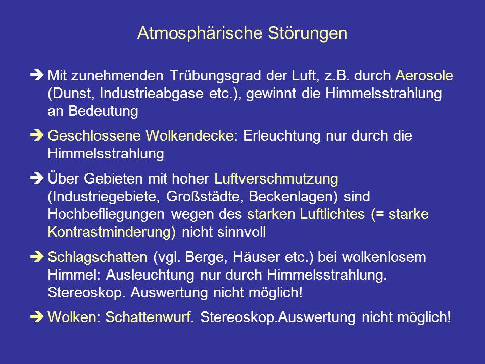 Atmosphärische Störungen  Mit zunehmenden Trübungsgrad der Luft, z.B. durch Aerosole (Dunst, Industrieabgase etc.), gewinnt die Himmelsstrahlung an B