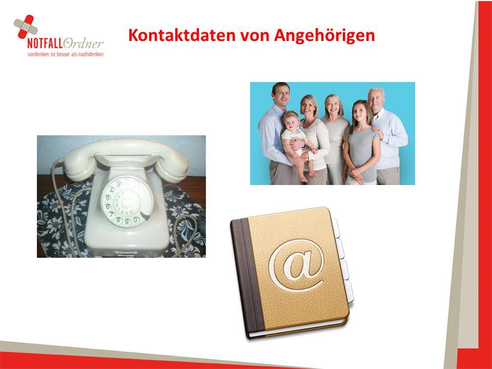 Kontaktdaten von Angehörigen