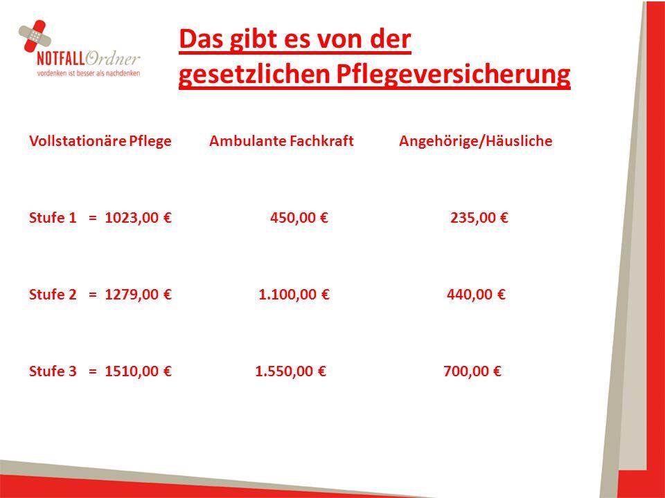 Vollstationäre Pflege Ambulante Fachkraft Angehörige/Häusliche Stufe 1 = 1023,00 € 450,00 €235,00 € Stufe 2 = 1279,00 € 1.100,00 € 440,00 € Stufe 3 =
