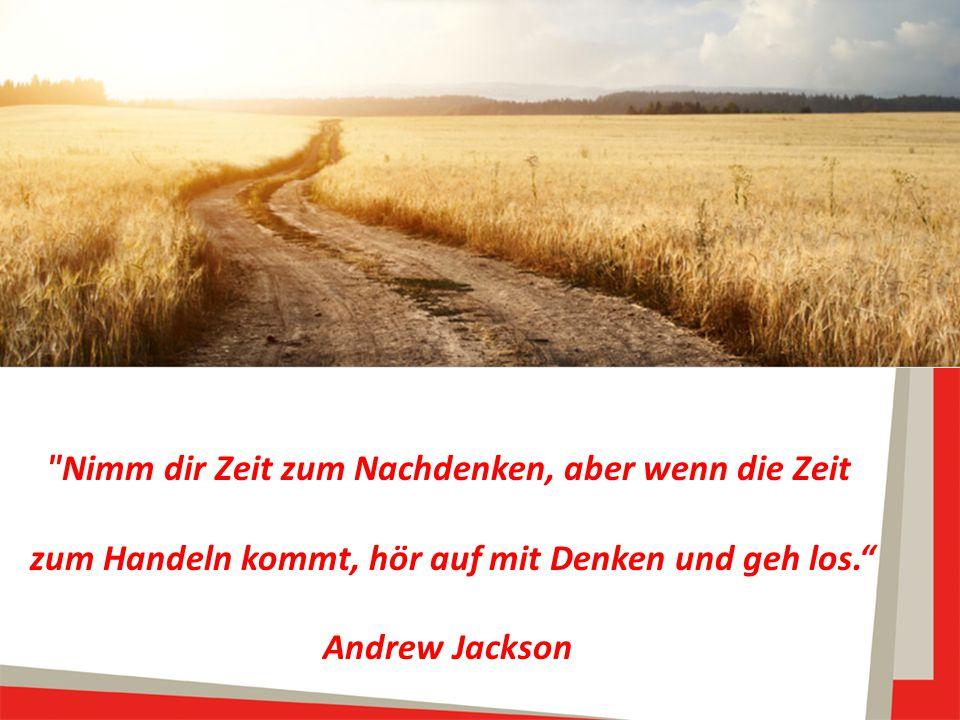 Nimm dir Zeit zum Nachdenken, aber wenn die Zeit zum Handeln kommt, hör auf mit Denken und geh los. Andrew Jackson