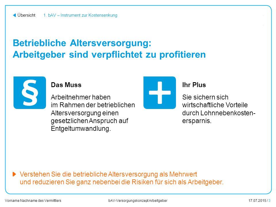 17.07.2015 / 24 Vorname Nachname des Vermittlers bAV-Versorgungskonzept Arbeitgeber Übersicht Inhalt 1.
