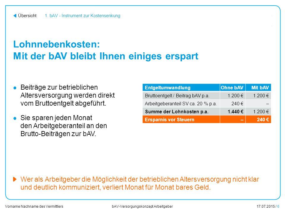 17.07.2015 / 17 Vorname Nachname des Vermittlers bAV-Versorgungskonzept Arbeitgeber Übersicht 3.