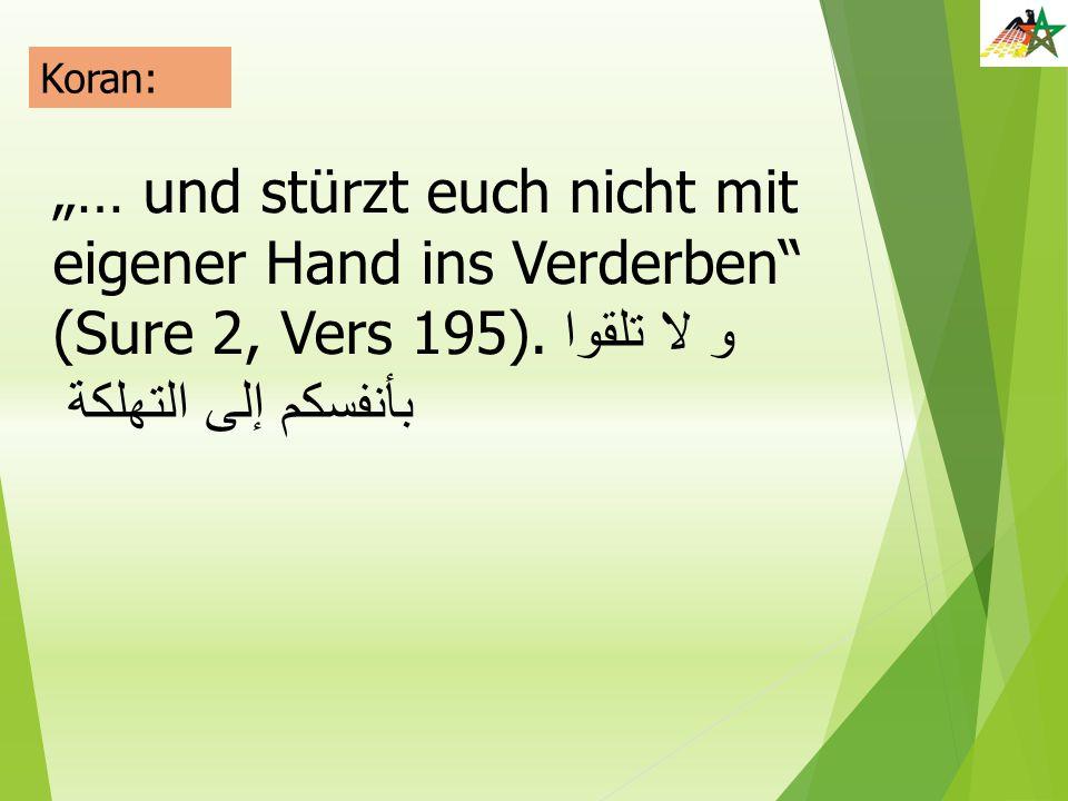 """""""… und stürzt euch nicht mit eigener Hand ins Verderben"""" (Sure 2, Vers 195). و لا تلقوا بأنفسكم إلى التهلكة"""