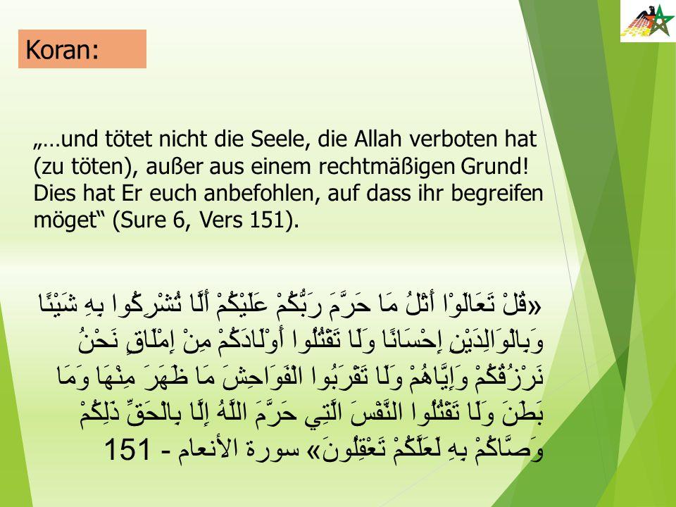 """Koran: """"…und tötet nicht die Seele, die Allah verboten hat (zu töten), außer aus einem rechtmäßigen Grund! Dies hat Er euch anbefohlen, auf dass ihr b"""