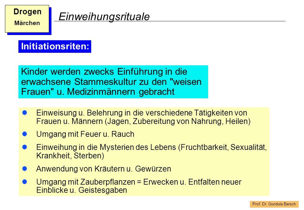 Prof. Dr. Gundula Barsch Drogen Märchen Einweihungsrituale Einweisung u. Belehrung in die verschiedene Tätigkeiten von Frauen u. Männern (Jagen, Zuber