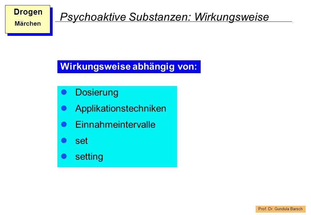 Prof. Dr. Gundula Barsch Drogen Märchen Psychoaktive Substanzen: Wirkungsweise Dosierung Applikationstechniken Einnahmeintervalle set setting Wirkungs