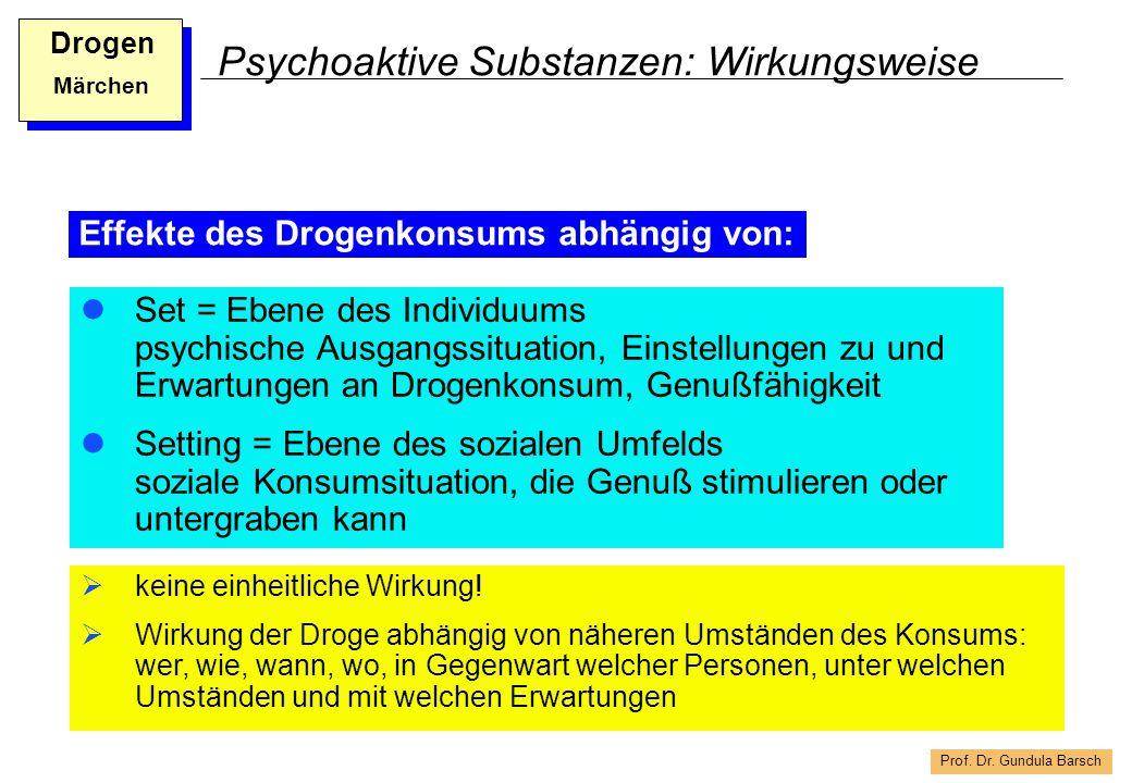 Prof. Dr. Gundula Barsch Drogen Märchen Psychoaktive Substanzen: Wirkungsweise Set = Ebene des Individuums psychische Ausgangssituation, Einstellungen