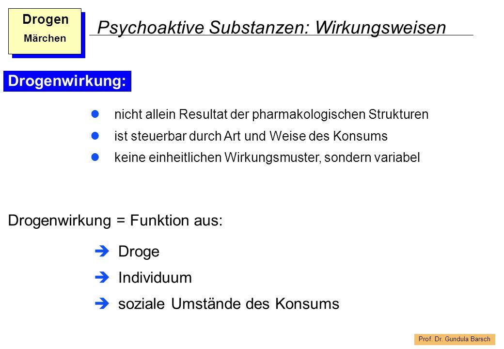 Prof. Dr. Gundula Barsch Drogen Märchen Psychoaktive Substanzen: Wirkungsweisen Drogenwirkung: nicht allein Resultat der pharmakologischen Strukturen