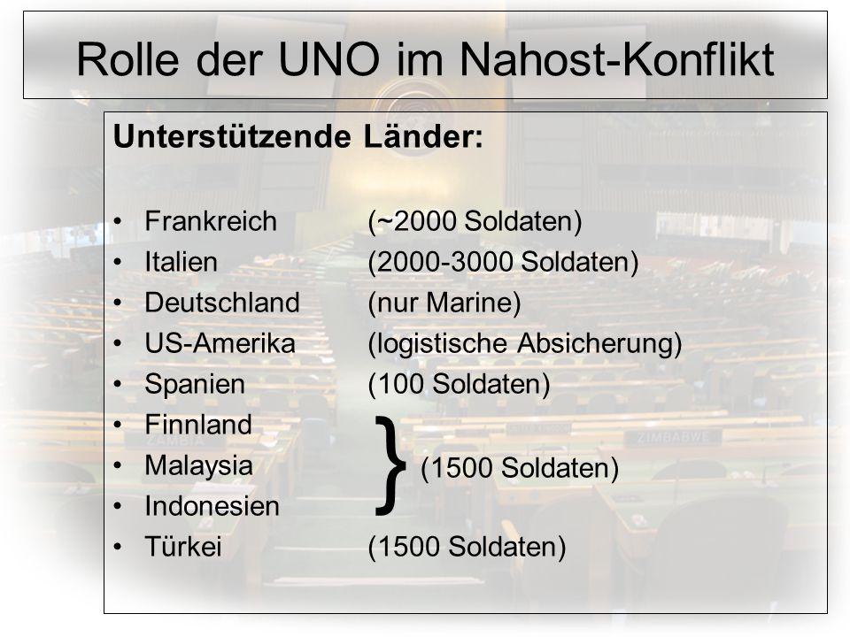 Rolle der UNO im Nahost-Konflikt Unterstützende Länder: Frankreich(~2000 Soldaten) Italien(2000-3000 Soldaten) Deutschland(nur Marine) US-Amerika(logistische Absicherung) Spanien(100 Soldaten) Finnland Malaysia Indonesien Türkei(1500 Soldaten) } (1500 Soldaten)