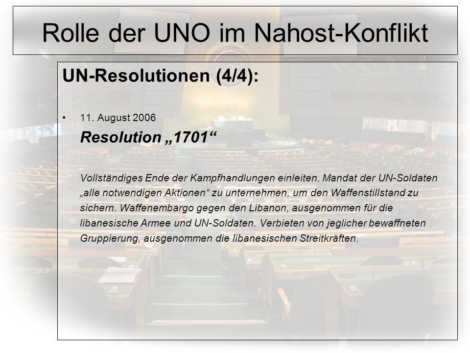 Rolle der UNO im Nahost-Konflikt UN-Resolutionen (4/4): 11.