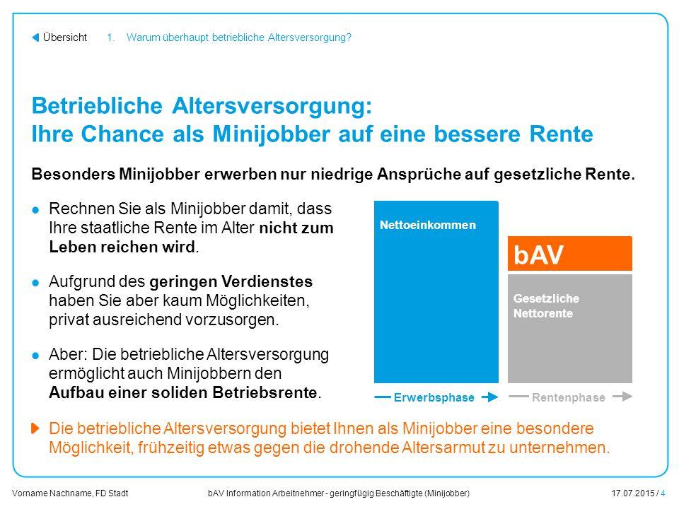 bAV Information Arbeitnehmer - geringfügig Beschäftigte (Minijobber)17.07.2015 / 4 Vorname Nachname, FD Stadt Übersicht Betriebliche Altersversorgung: