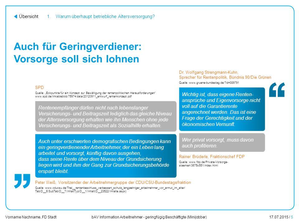 bAV Information Arbeitnehmer - geringfügig Beschäftigte (Minijobber)17.07.2015 / 5 Vorname Nachname, FD Stadt Übersicht Auch für Geringverdiener: Vors