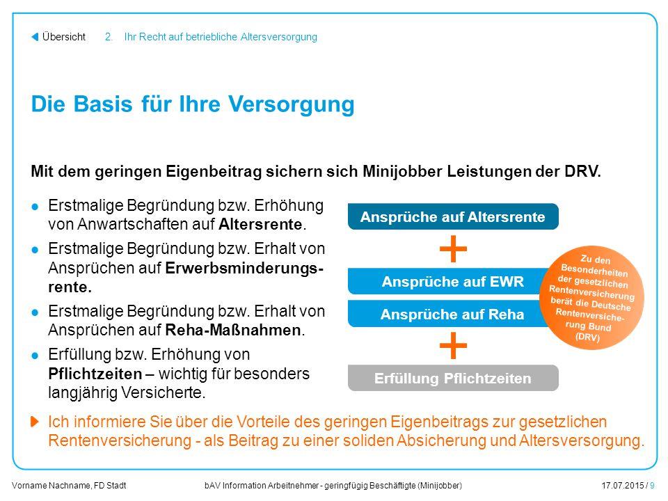 bAV Information Arbeitnehmer - geringfügig Beschäftigte (Minijobber)17.07.2015 / 9 Vorname Nachname, FD Stadt Übersicht Die Basis für Ihre Versorgung