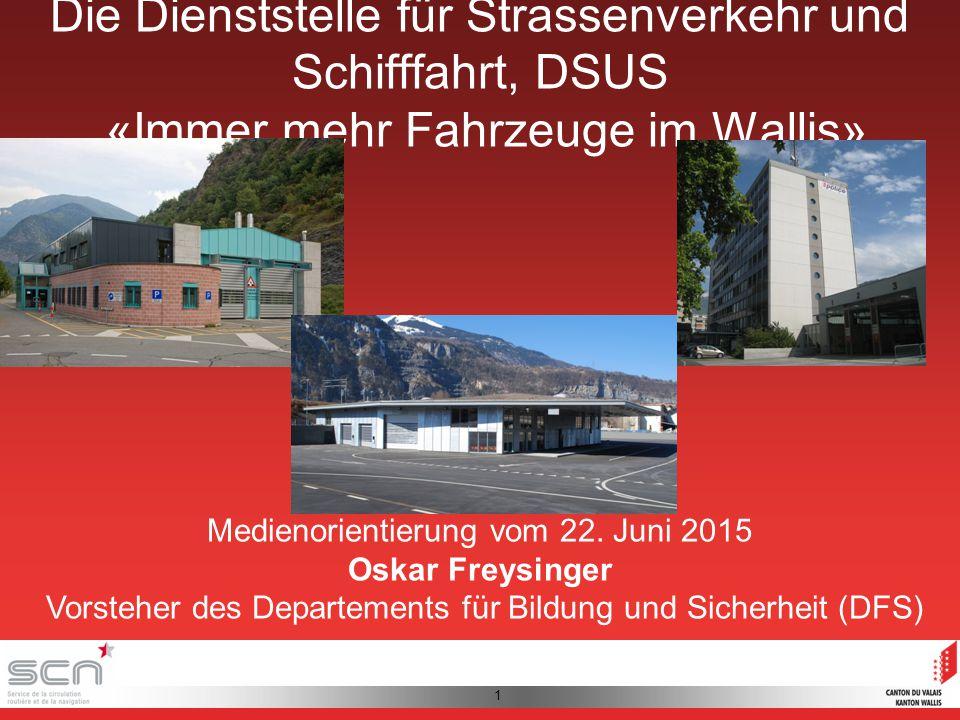 1 Die Dienststelle für Strassenverkehr und Schifffahrt, DSUS «Immer mehr Fahrzeuge im Wallis» Medienorientierung vom 22.
