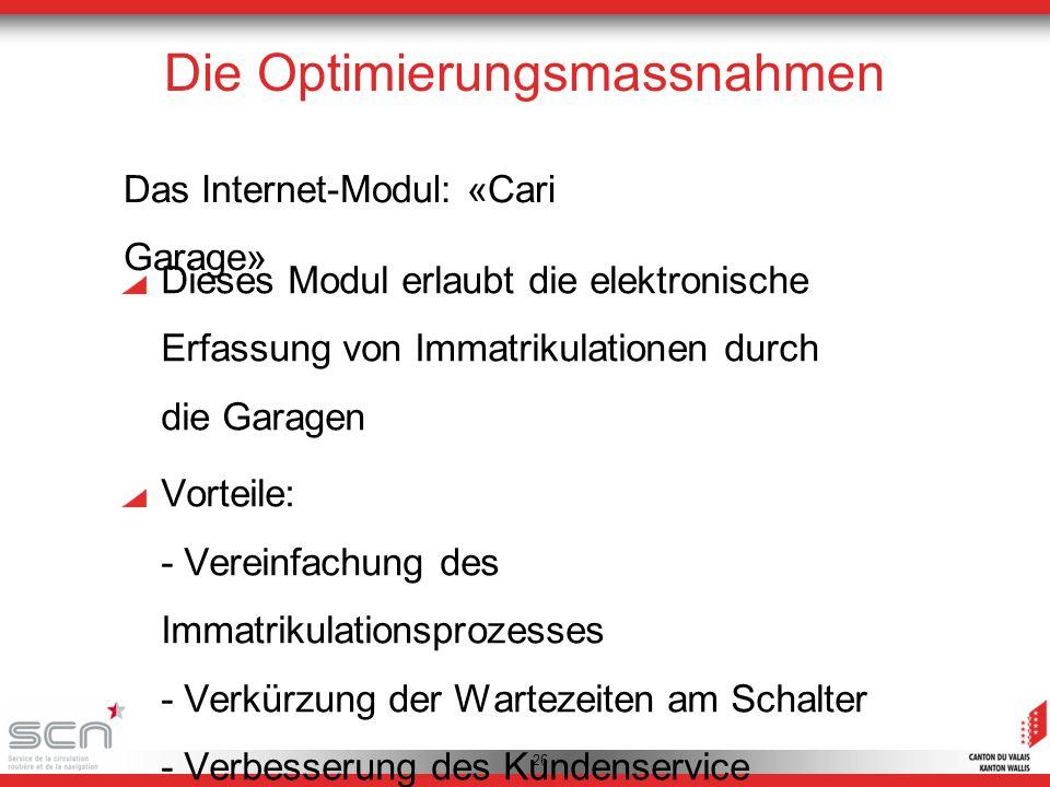 26 Die Optimierungsmassnahmen Das Internet-Modul: «Cari Garage» Dieses Modul erlaubt die elektronische Erfassung von Immatrikulationen durch die Garagen Vorteile: - Vereinfachung des Immatrikulationsprozesses - Verkürzung der Wartezeiten am Schalter - Verbesserung des Kundenservice
