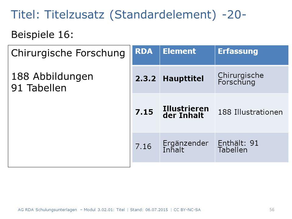 Titel: Titelzusatz (Standardelement) -20- Beispiele 16: Chirurgische Forschung 188 Abbildungen 91 Tabellen RDAElementErfassung 2.3.2Haupttitel Chirurg