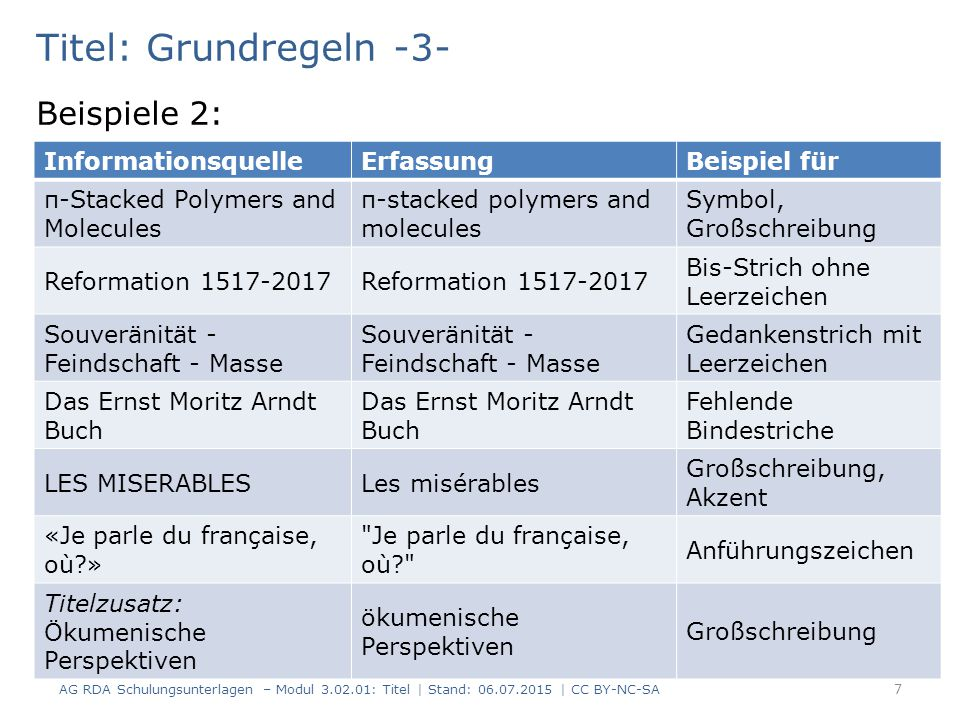 Titel: Paralleler Titelzusatz -5- Beispiele 5: RDAElementErfassung 2.3.2HaupttitelRequiem a Rossini 2.3.4Titelzusatz(12.