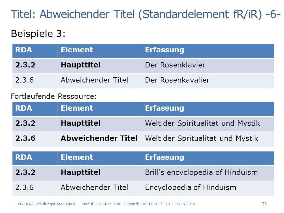 Titel: Abweichender Titel (Standardelement fR/iR) -6- Beispiele 3: Fortlaufende Ressource: RDAElementErfassung 2.3.2HaupttitelDer Rosenklavier 2.3.6Ab