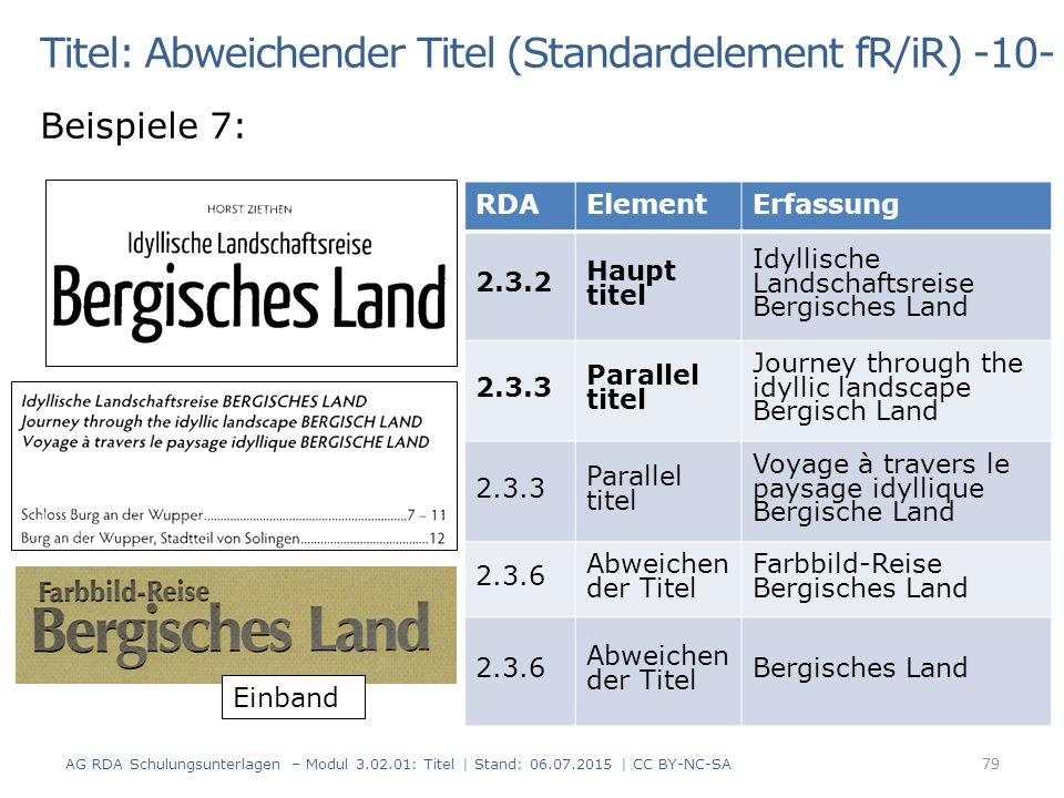 Titel: Abweichender Titel (Standardelement fR/iR) -10- Beispiele 7: RDAElementErfassung 2.3.2 Haupt titel Idyllische Landschaftsreise Bergisches Land