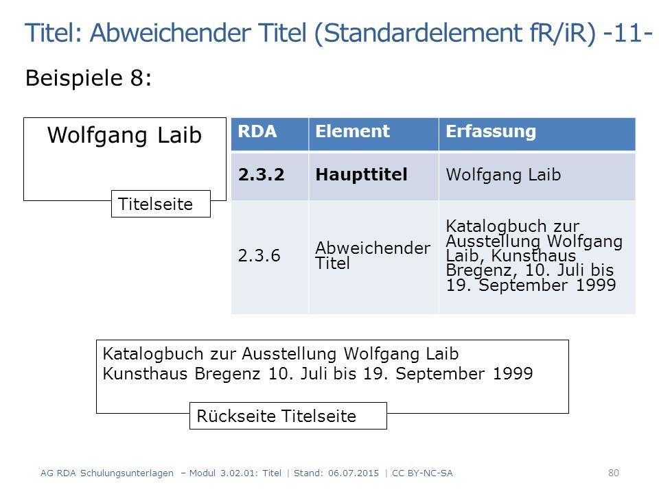 Titel: Abweichender Titel (Standardelement fR/iR) -11- Beispiele 8: Wolfgang Laib Katalogbuch zur Ausstellung Wolfgang Laib Kunsthaus Bregenz 10. Juli
