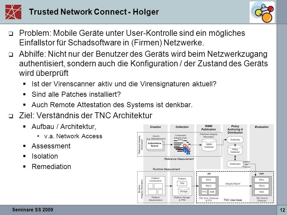 Seminare SS 2009 12 Trusted Network Connect - Holger  Problem: Mobile Geräte unter User-Kontrolle sind ein mögliches Einfallstor für Schadsoftware in (Firmen) Netzwerke.
