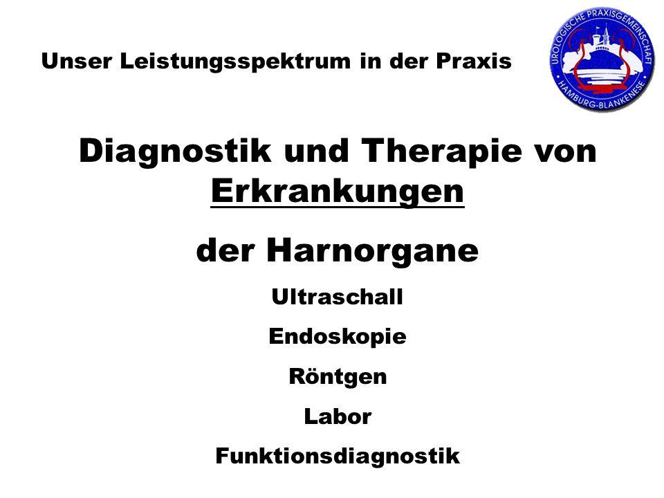 Unser Leistungsspektrum in der Praxis Diagnostik und Therapie von Erkrankungen der Harnorgane Ultraschall Endoskopie Röntgen Labor Funktionsdiagnostik