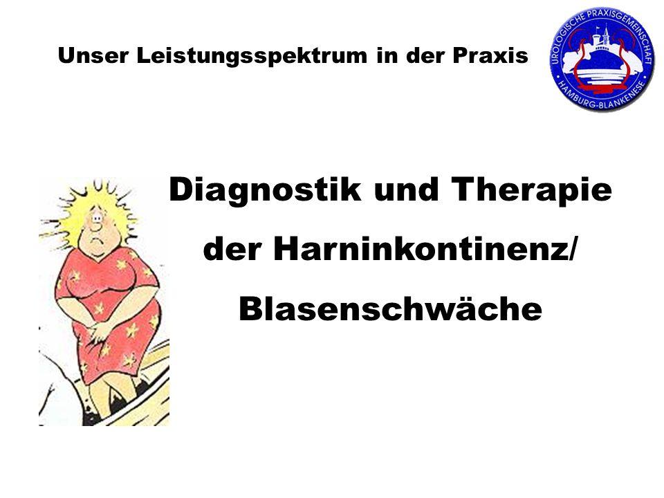Unser Leistungsspektrum in der Praxis Diagnostik und Therapie der Harninkontinenz/ Blasenschwäche