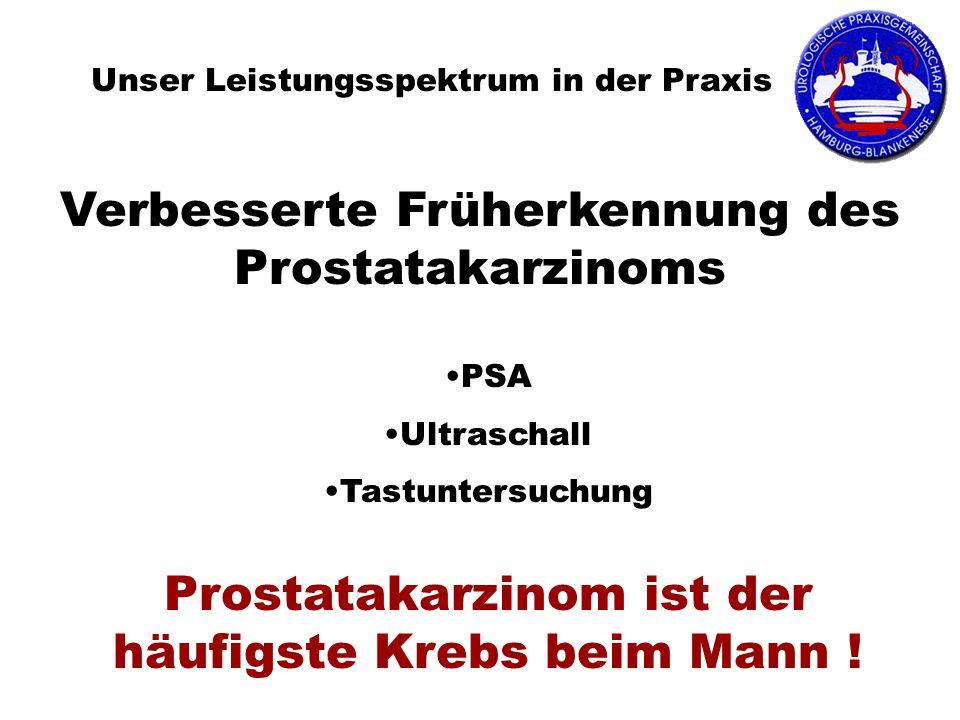 Unser Leistungsspektrum in der Praxis PSA Ultraschall Tastuntersuchung Prostatakarzinom ist der häufigste Krebs beim Mann ! Verbesserte Früherkennung