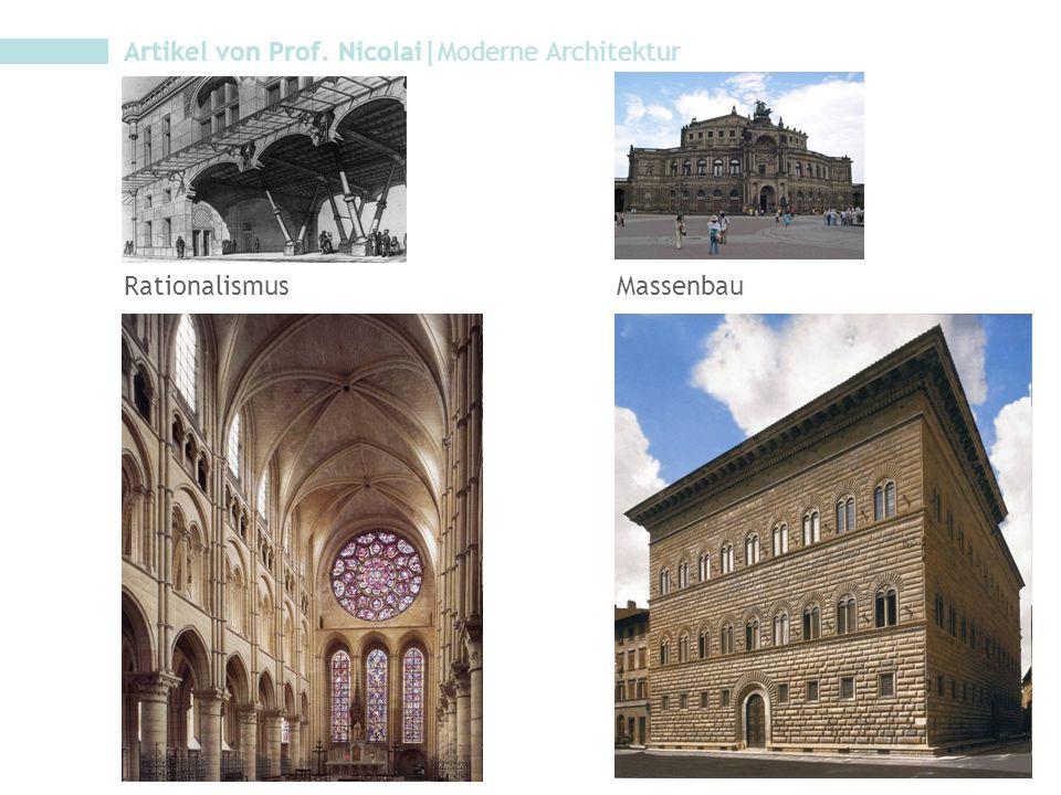 Artikel von Prof. Nicolai|Moderne Architektur RationalismusMassenbau