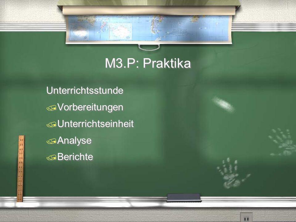 M3.P: Praktika Unterrichtsstunde  Vorbereitungen  Unterrichtseinheit  Analyse  Berichte Unterrichtsstunde  Vorbereitungen  Unterrichtseinheit 