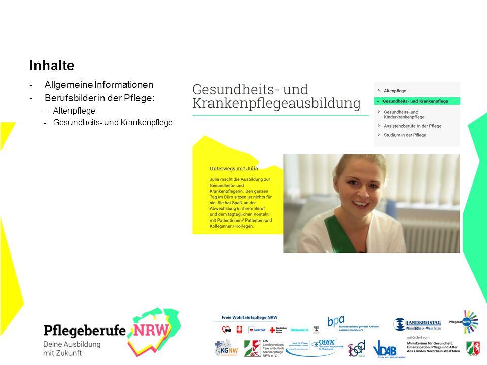 Inhalte -Allgemeine Informationen -Berufsbilder in der Pflege: -Altenpflege -Gesundheits- und Krankenpflege