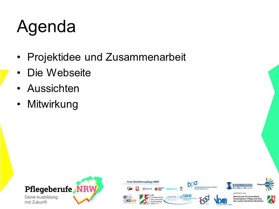 Agenda Projektidee und Zusammenarbeit Die Webseite Aussichten Mitwirkung