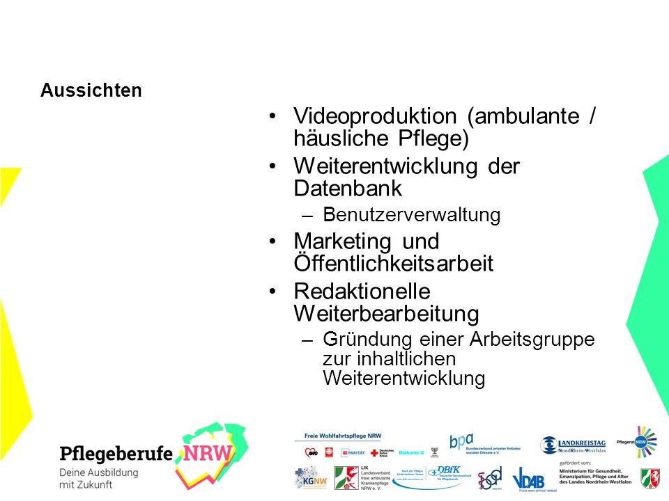 Aussichten Videoproduktion (ambulante / häusliche Pflege) Weiterentwicklung der Datenbank –Benutzerverwaltung Marketing und Öffentlichkeitsarbeit Reda
