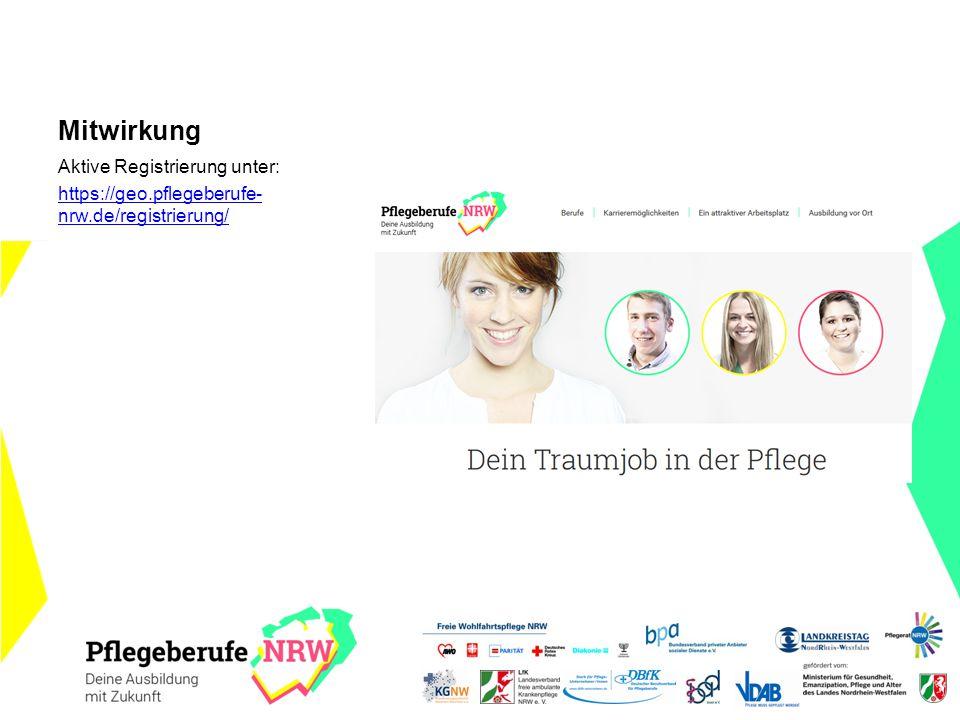 Aktive Registrierung unter: https://geo.pflegeberufe- nrw.de/registrierung/